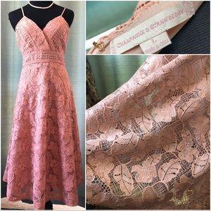 Champagne & Strawberry Pink Crochet Midi. Lg